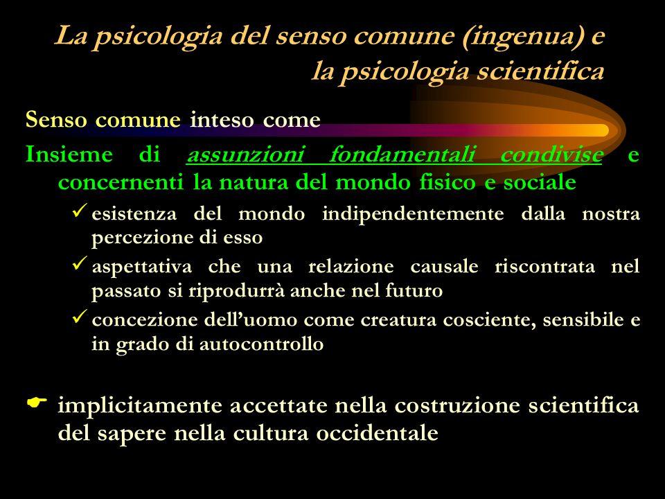 La psicologia del senso comune (ingenua) e la psicologia scientifica Senso comune inteso come insieme di assunzioni fondamentali condivise e concernenti la natura del mondo fisico e sociale insieme di massime e convinzioni riguardanti il mondo fisico e sociale modo condiviso di pensare circa il mondo fisico e sociale