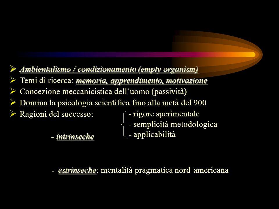 Esponenti e tematiche: Skinner Skinner (1904-1990): studi sul condizionamento Kantor Kantor (1888-1984): intercomportamentismo Hull Hull (1884-1952): variabili intervenienti (pulsione) Hebb Hebb (1904-1985): assembramenti neuronali Tolman Tolman (1886-1959): mappe cognitive Berlyne Berlyne (1924-1977): neo-comportamentismo S-O-R organismo