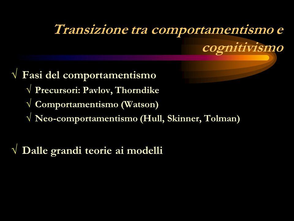 Ambientalismo / condizionamento (empty organism) Ambientalismo / condizionamento (empty organism) memoria, apprendimento, motivazione Temi di ricerca: memoria, apprendimento, motivazione Concezione meccanicistica delluomo (passività) Domina la psicologia scientifica fino alla metà del 900 Ragioni del successo: - intrinseche -estrinseche -estrinseche: mentalità pragmatica nord-americana - rigore sperimentale - semplicità metodologica - applicabilità