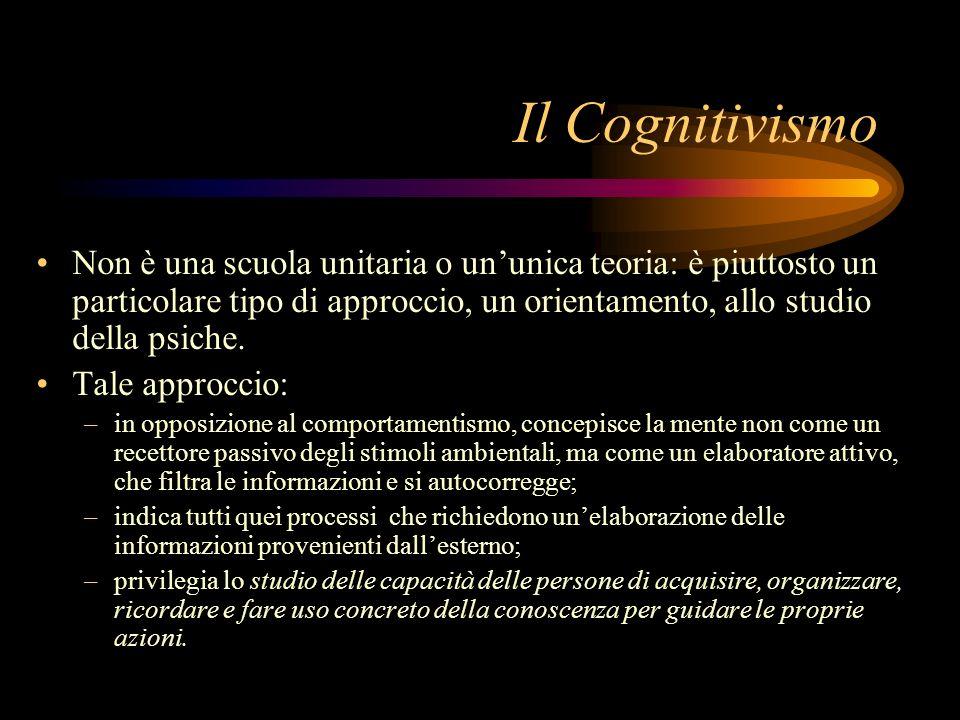 Transizione tra comportamentismo e cognitivismo Fasi del comportamentismo Precursori: Pavlov, Thorndike Comportamentismo (Watson) Neo-comportamentismo (Hull, Skinner, Tolman) Dalle grandi teorie ai modelli