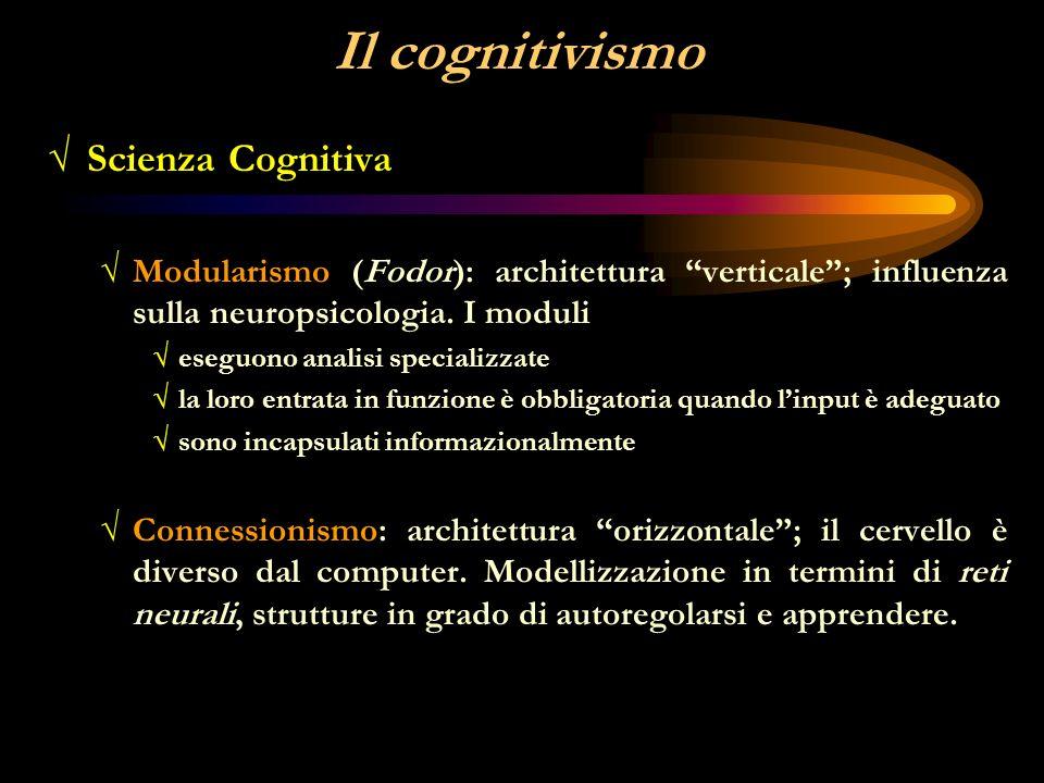 Il cognitivismo Scienza Cognitiva Schemi Rappresentazione delle conoscenze Immagini mentali I modelli mentali.