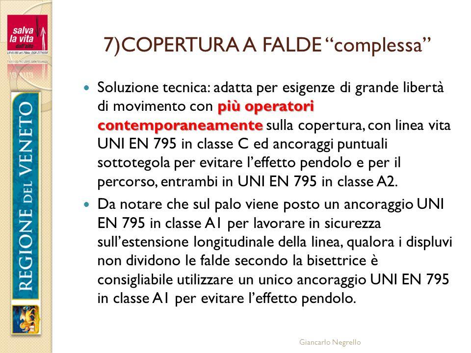 Giancarlo Negrello 7)COPERTURA A FALDE complessa più operatori contemporaneamente Soluzione tecnica: adatta per esigenze di grande libertà di moviment