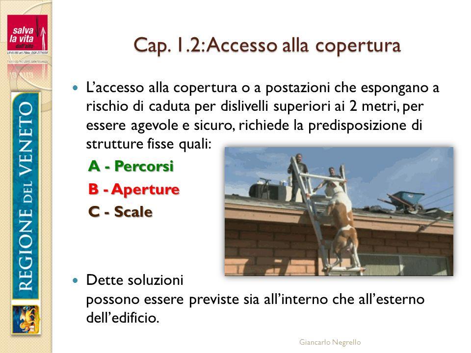 Giancarlo Negrello Cap. 1.2: Accesso alla copertura Laccesso alla copertura o a postazioni che espongano a rischio di caduta per dislivelli superiori