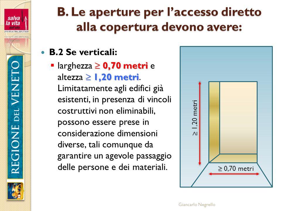 Giancarlo Negrello B. Le aperture per laccesso diretto alla copertura devono avere: B.2 Se verticali: 0,70 metri 1,20 metri larghezza 0,70 metri e alt