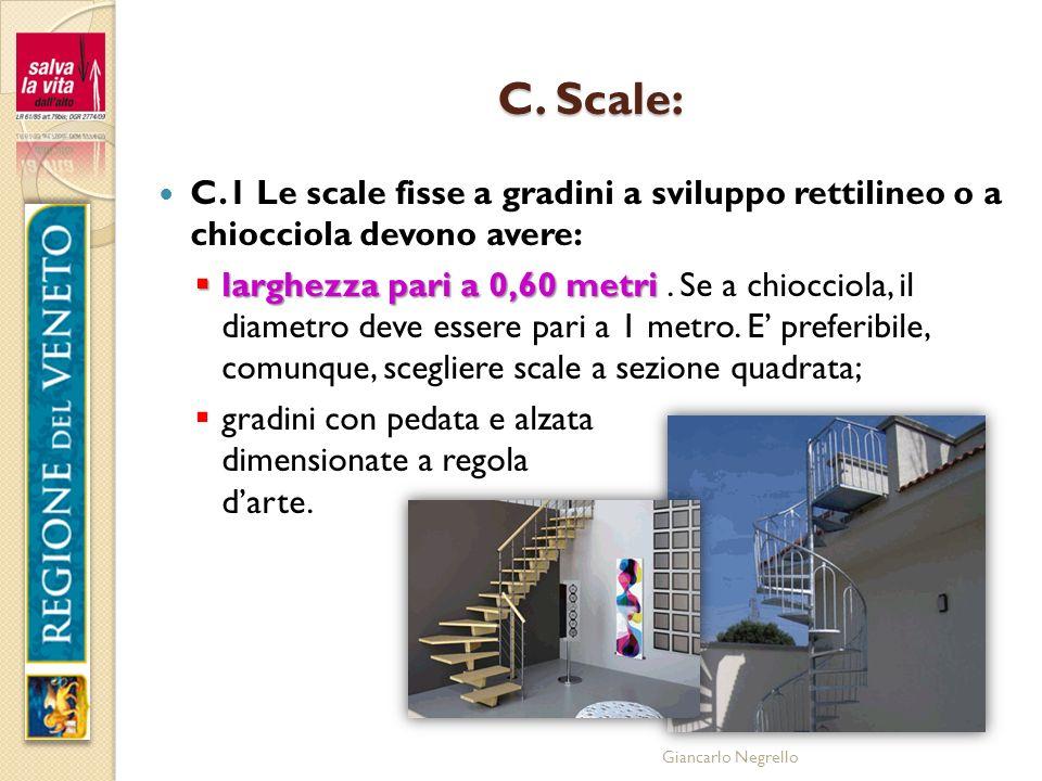 Giancarlo Negrello C. Scale: C.1 Le scale fisse a gradini a sviluppo rettilineo o a chiocciola devono avere: larghezza pari a 0,60 metri larghezza par