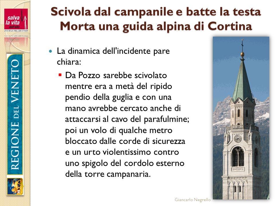 Giancarlo Negrello Scivola dal campanile e batte la testa Morta una guida alpina di Cortina La dinamica dell'incidente pare chiara: Da Pozzo sarebbe s