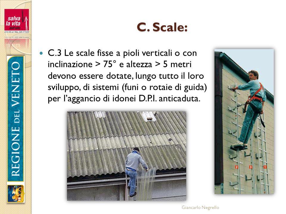 Giancarlo Negrello C. Scale: C.3 Le scale fisse a pioli verticali o con inclinazione > 75° e altezza > 5 metri devono essere dotate, lungo tutto il lo