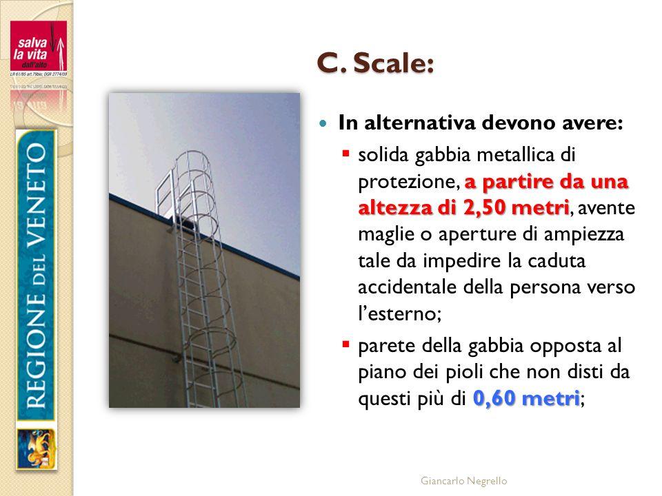 Giancarlo Negrello C. Scale: In alternativa devono avere: a partire da una altezza di 2,50 metri solida gabbia metallica di protezione, a partire da u