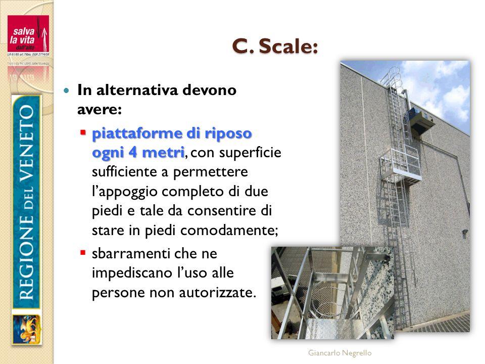 Giancarlo Negrello C. Scale: In alternativa devono avere: piattaforme di riposo ogni 4 metri piattaforme di riposo ogni 4 metri, con superficie suffic