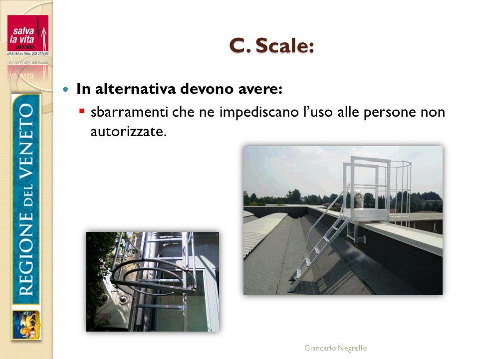 Giancarlo Negrello C. Scale: In alternativa devono avere: sbarramenti che ne impediscano luso alle persone non autorizzate.