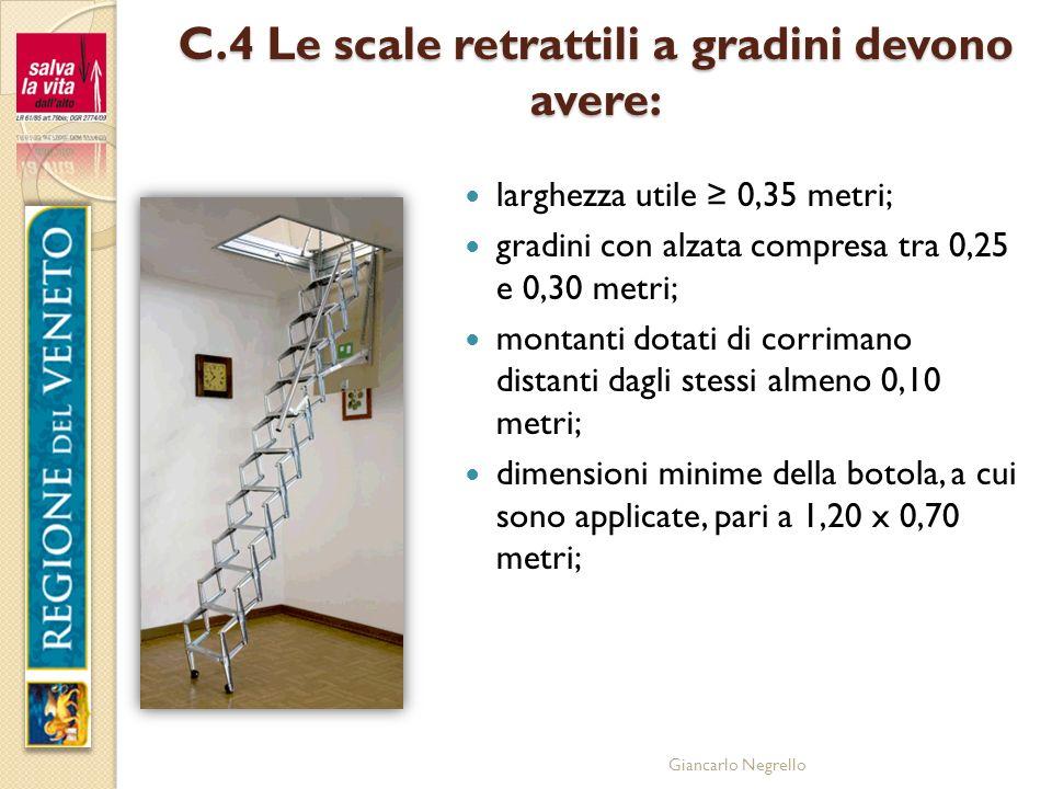 Giancarlo Negrello C.4 Le scale retrattili a gradini devono avere: larghezza utile 0,35 metri; gradini con alzata compresa tra 0,25 e 0,30 metri; mont