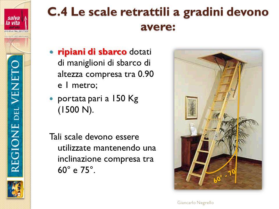 Giancarlo Negrello C.4 Le scale retrattili a gradini devono avere: ripiani di sbarco ripiani di sbarco dotati di maniglioni di sbarco di altezza compr