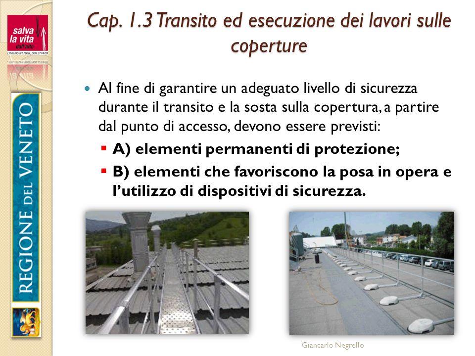 Giancarlo Negrello Cap. 1.3 Transito ed esecuzione dei lavori sulle coperture Al fine di garantire un adeguato livello di sicurezza durante il transit