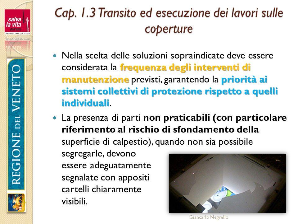 Giancarlo Negrello Cap. 1.3 Transito ed esecuzione dei lavori sulle coperture frequenza degli interventi di manutenzionepriorità ai sistemi collettivi