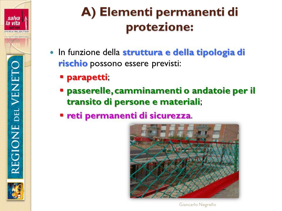 Giancarlo Negrello A) Elementi permanenti di protezione: struttura e della tipologia di rischio In funzione della struttura e della tipologia di risch