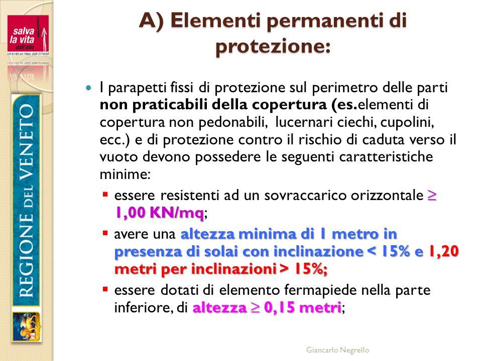 Giancarlo Negrello A) Elementi permanenti di protezione: I parapetti fissi di protezione sul perimetro delle parti non praticabili della copertura (es
