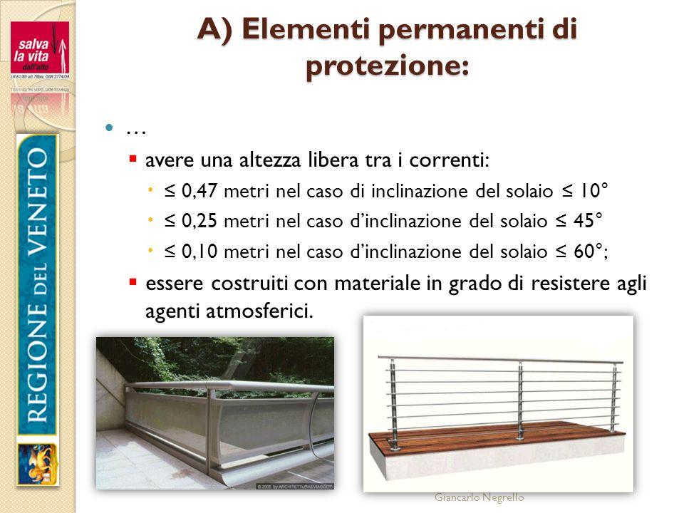 Giancarlo Negrello A) Elementi permanenti di protezione: … avere una altezza libera tra i correnti: 0,47 metri nel caso di inclinazione del solaio 10°