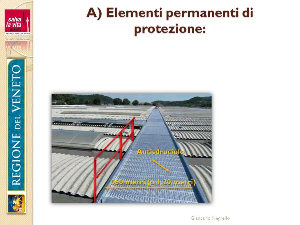 Giancarlo Negrello A) Elementi permanenti di protezione: 060 metri (o 1,20 metri) Antisdruciolo
