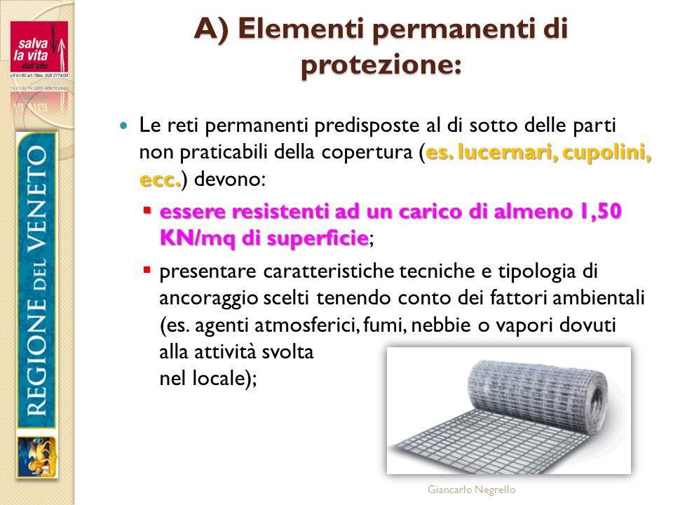 Giancarlo Negrello A) Elementi permanenti di protezione: es. lucernari, cupolini, ecc. Le reti permanenti predisposte al di sotto delle parti non prat