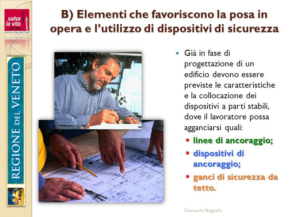 Giancarlo Negrello B) Elementi che favoriscono la posa in opera e lutilizzo di dispositivi di sicurezza Già in fase di progettazione di un edificio de