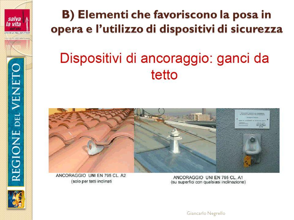 Giancarlo Negrello B) Elementi che favoriscono la posa in opera e lutilizzo di dispositivi di sicurezza