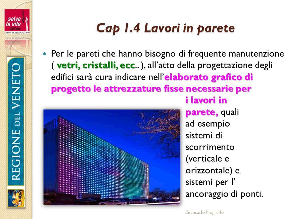 Giancarlo Negrello Cap 1.4 Lavori in parete vetri, cristalli, ecc elaborato grafico di progetto le attrezzature fisse necessarie per i lavori in paret