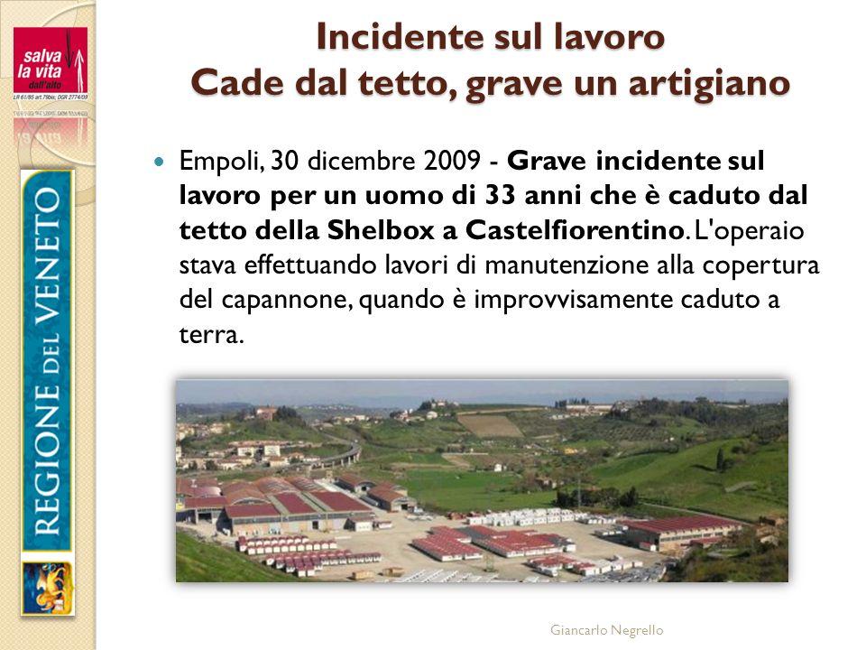 Giancarlo Negrello Incidente sul lavoro Cade dal tetto, grave un artigiano Empoli, 30 dicembre 2009 - Grave incidente sul lavoro per un uomo di 33 ann