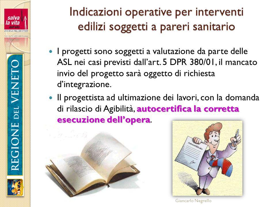 Giancarlo Negrello Indicazioni operative per interventi edilizi soggetti a pareri sanitario I progetti sono soggetti a valutazione da parte delle ASL