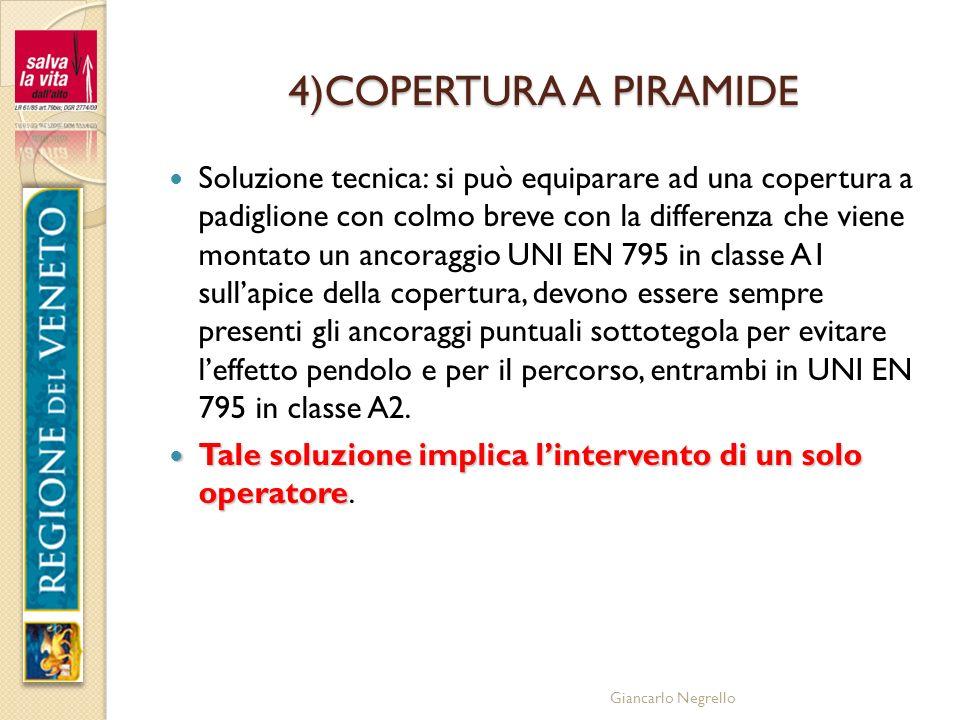 Giancarlo Negrello 4)COPERTURA A PIRAMIDE Soluzione tecnica: si può equiparare ad una copertura a padiglione con colmo breve con la differenza che vie