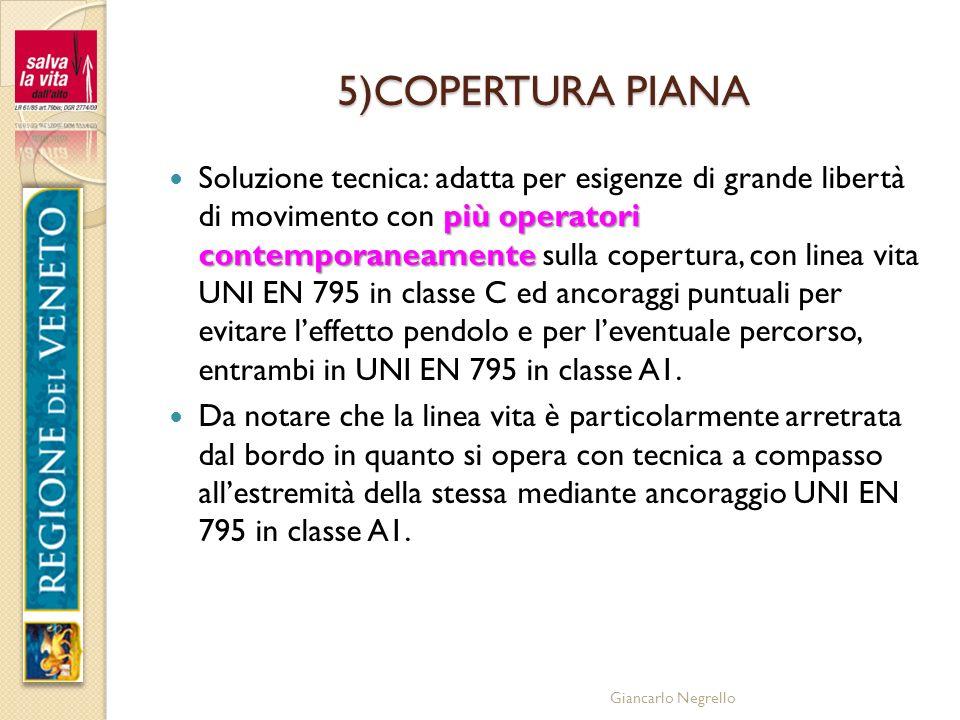 Giancarlo Negrello 5)COPERTURA PIANA più operatori contemporaneamente Soluzione tecnica: adatta per esigenze di grande libertà di movimento con più op