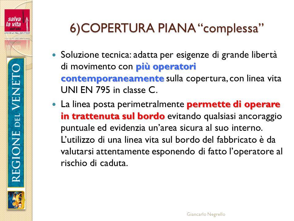 Giancarlo Negrello 6)COPERTURA PIANA complessa più operatori contemporaneamente Soluzione tecnica: adatta per esigenze di grande libertà di movimento
