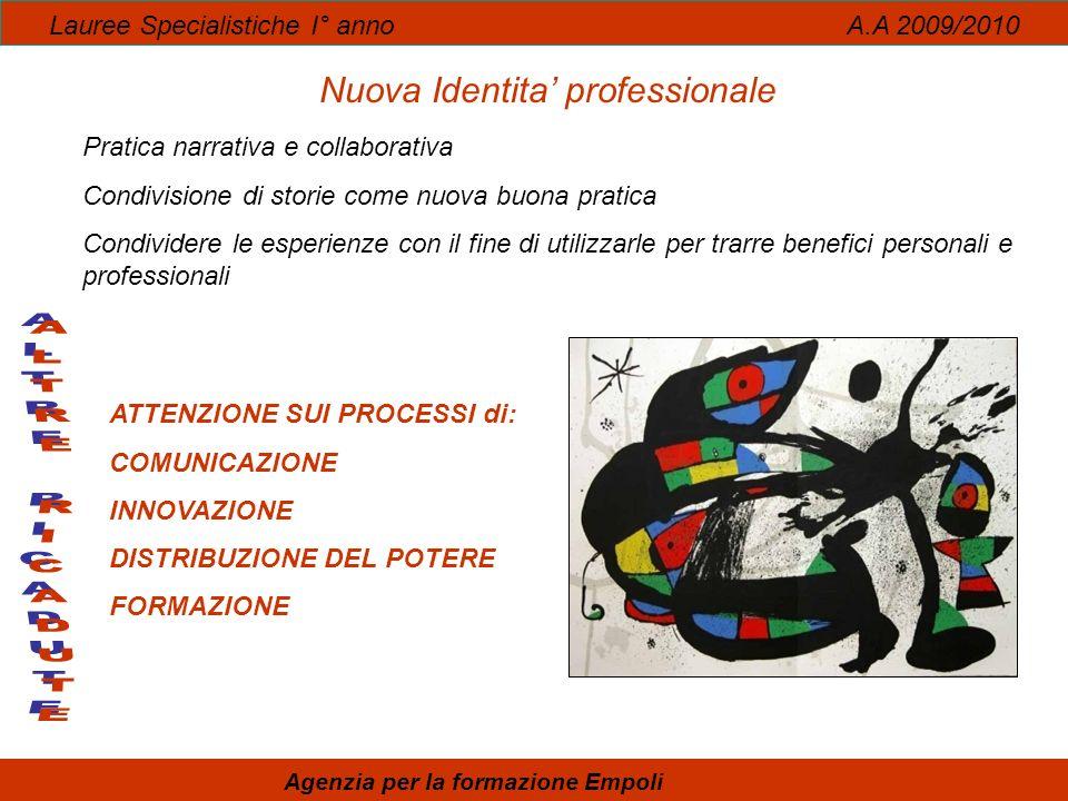 Lauree Specialistiche I° anno A.A 2009/2010 Nuova Identita professionale Pratica narrativa e collaborativa Condivisione di storie come nuova buona pra
