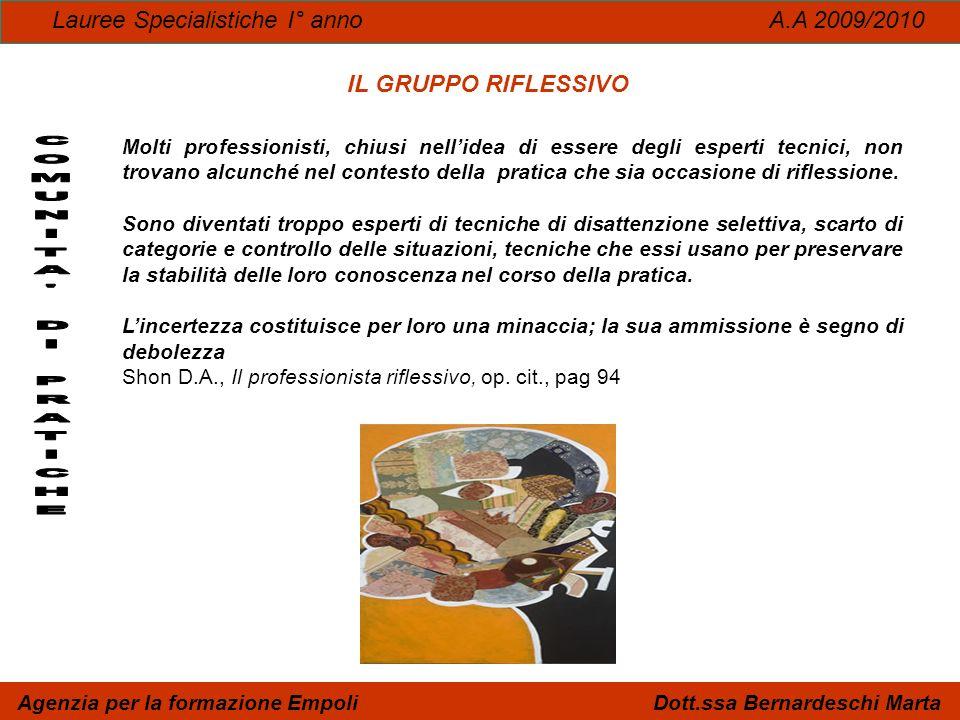 Lauree Specialistiche I° anno A.A 2009/2010 Agenzia per la formazione Empoli Dott.ssa Bernardeschi Marta IL GRUPPO RIFLESSIVO Molti professionisti, ch