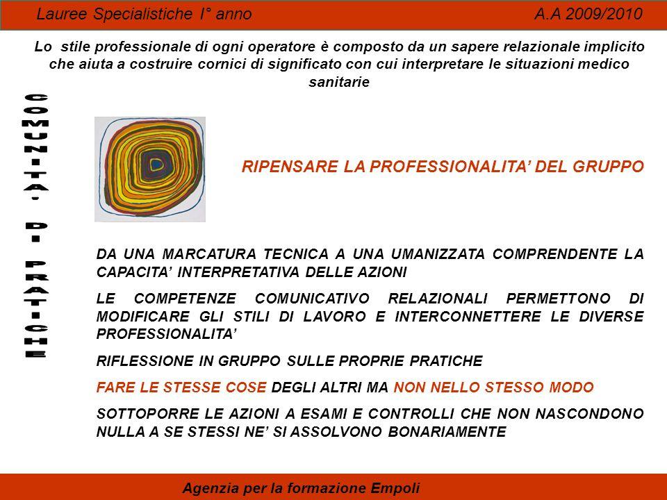 Lauree Specialistiche I° anno A.A 2009/2010 Agenzia per la formazione Empoli Lo stile professionale di ogni operatore è composto da un sapere relazion