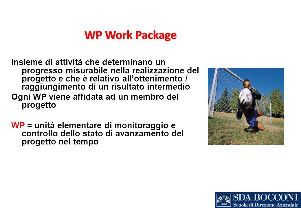 WP Work Package Insieme di attività che determinano un progresso misurabile nella realizzazione del progetto e che è relativo allottenimento / raggiun