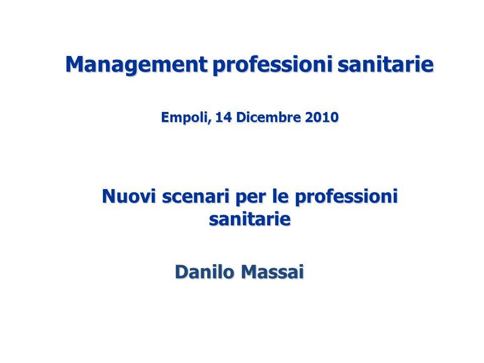 Danilo Massai Management professioni sanitarie Empoli, 14 Dicembre 2010 Nuovi scenari per le professioni sanitarie