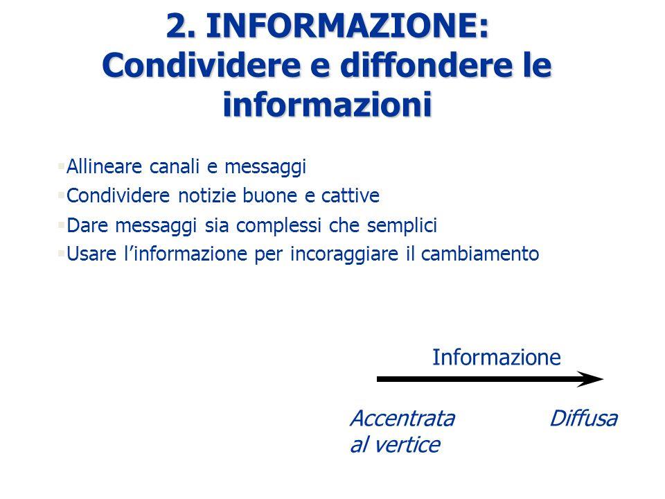 2. INFORMAZIONE: Condividere e diffondere le informazioni §Allineare canali e messaggi §Condividere notizie buone e cattive §Dare messaggi sia comples
