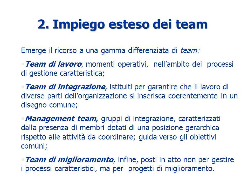 Emerge il ricorso a una gamma differenziata di team: §Team di lavoro, momenti operativi, nellambito dei processi di gestione caratteristica; §Team di integrazione, istituiti per garantire che il lavoro di diverse parti dellorganizzazione si inserisca coerentemente in un disegno comune; §Management team, gruppi di integrazione, caratterizzati dalla presenza di membri dotati di una posizione gerarchica rispetto alle attività da coordinare; guida verso gli obiettivi comuni; §Team di miglioramento, infine, posti in atto non per gestire i processi caratteristici, ma per progetti di miglioramento.