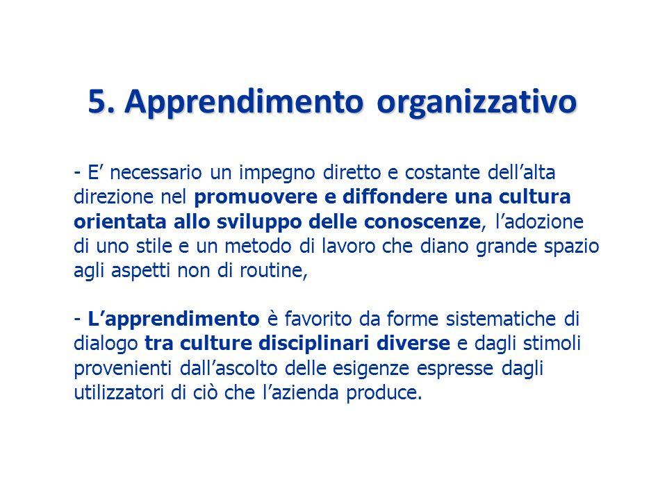 5. Apprendimento organizzativo - Lapprendimento è favorito da forme sistematiche di dialogo tra culture disciplinari diverse e dagli stimoli provenien