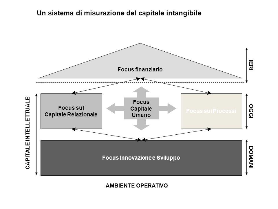 Focus finanziario Focus sul Capitale Relazionale Focus sui Processi Focus Innovazione e Sviluppo Focus Capitale Umano CAPITALE INTELLETTUALE OGGI DOMANI IERI AMBIENTE OPERATIVO Un sistema di misurazione del capitale intangibile