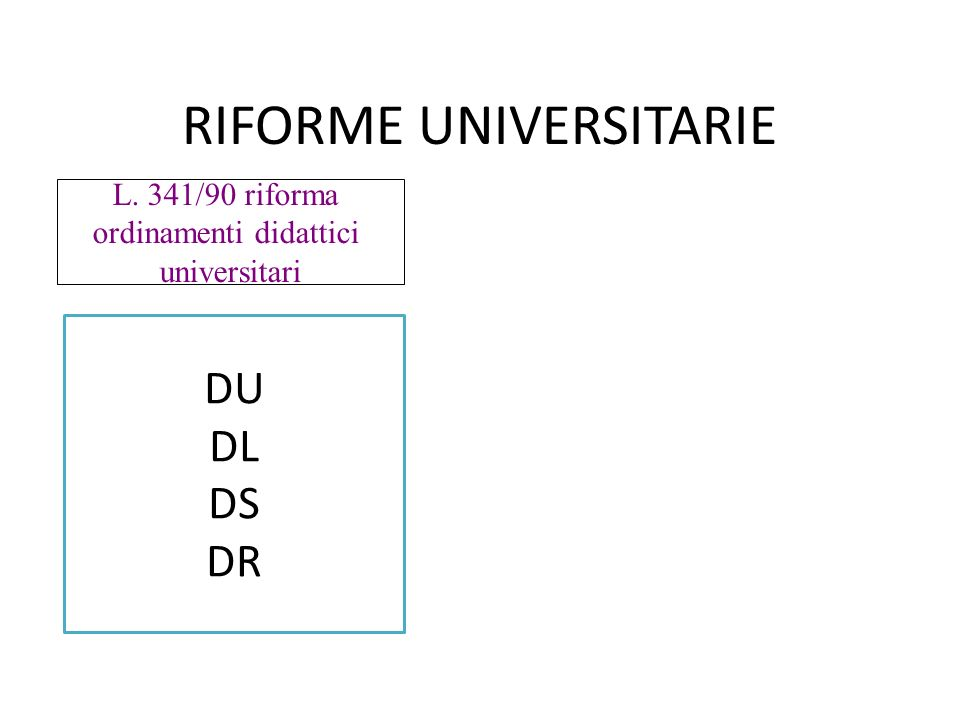 RIFORME UNIVERSITARIE L. 341/90 riforma ordinamenti didattici universitari DU DL DS DR