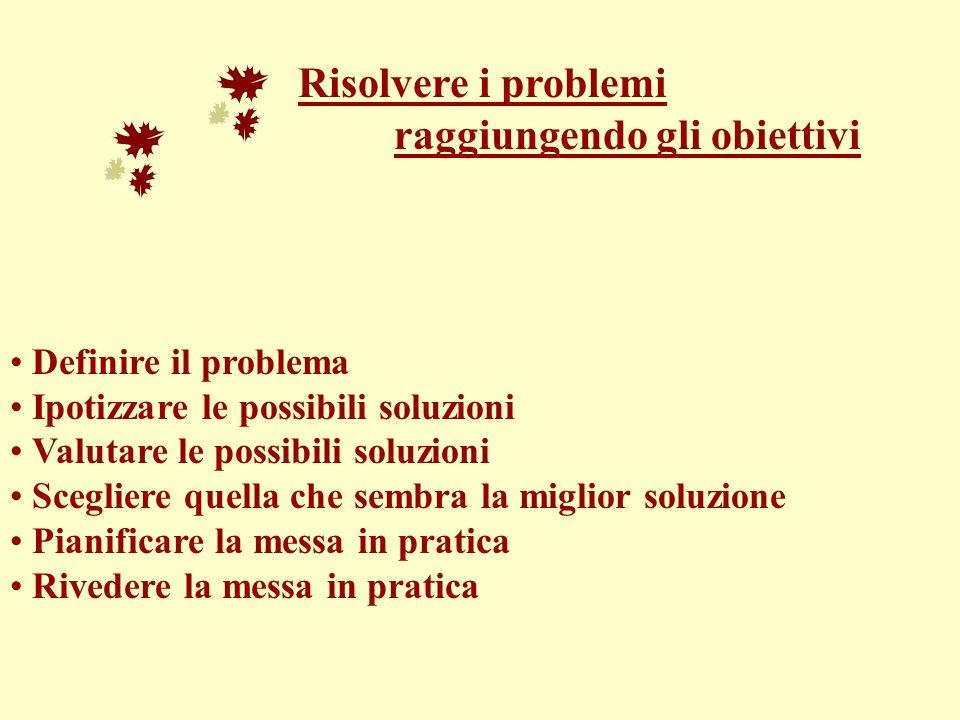 Risolvere i problemi raggiungendo gli obiettivi Definire il problema Ipotizzare le possibili soluzioni Valutare le possibili soluzioni Scegliere quell