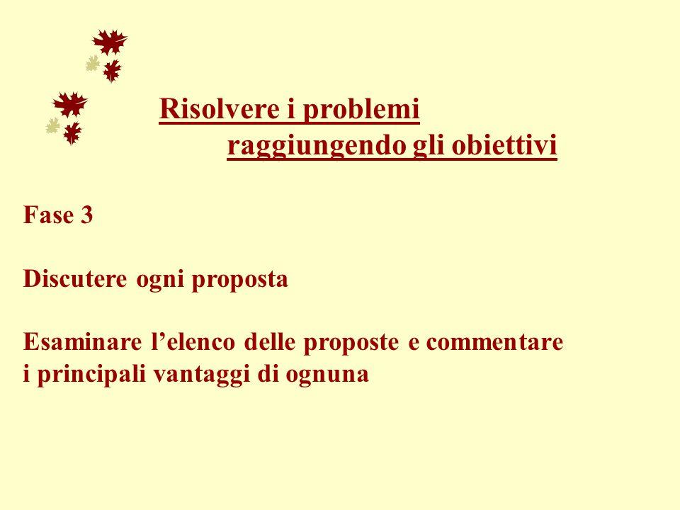 Risolvere i problemi raggiungendo gli obiettivi Fase 3 Discutere ogni proposta Esaminare lelenco delle proposte e commentare i principali vantaggi di