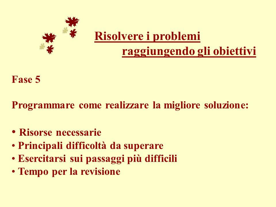 Risolvere i problemi raggiungendo gli obiettivi Fase 5 Programmare come realizzare la migliore soluzione: Risorse necessarie Principali difficoltà da