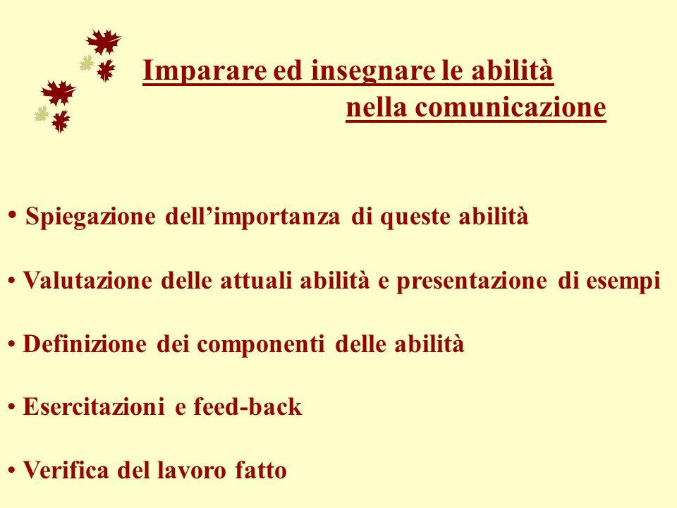Imparare ed insegnare le abilità nella comunicazione Spiegazione dellimportanza di queste abilità Valutazione delle attuali abilità e presentazione di