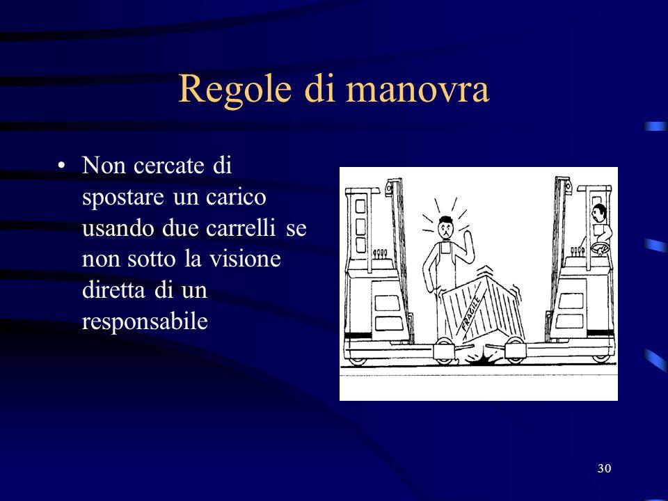 30 Regole di manovra Non cercate di spostare un carico usando due carrelli se non sotto la visione diretta di un responsabile