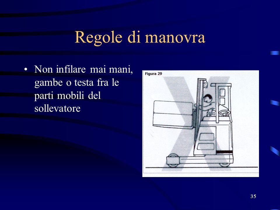 35 Regole di manovra Non infilare mai mani, gambe o testa fra le parti mobili del sollevatore