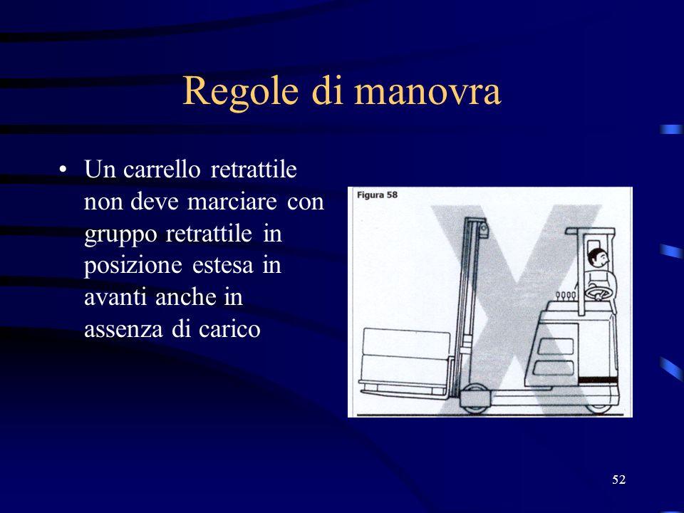 52 Regole di manovra Un carrello retrattile non deve marciare con gruppo retrattile in posizione estesa in avanti anche in assenza di carico