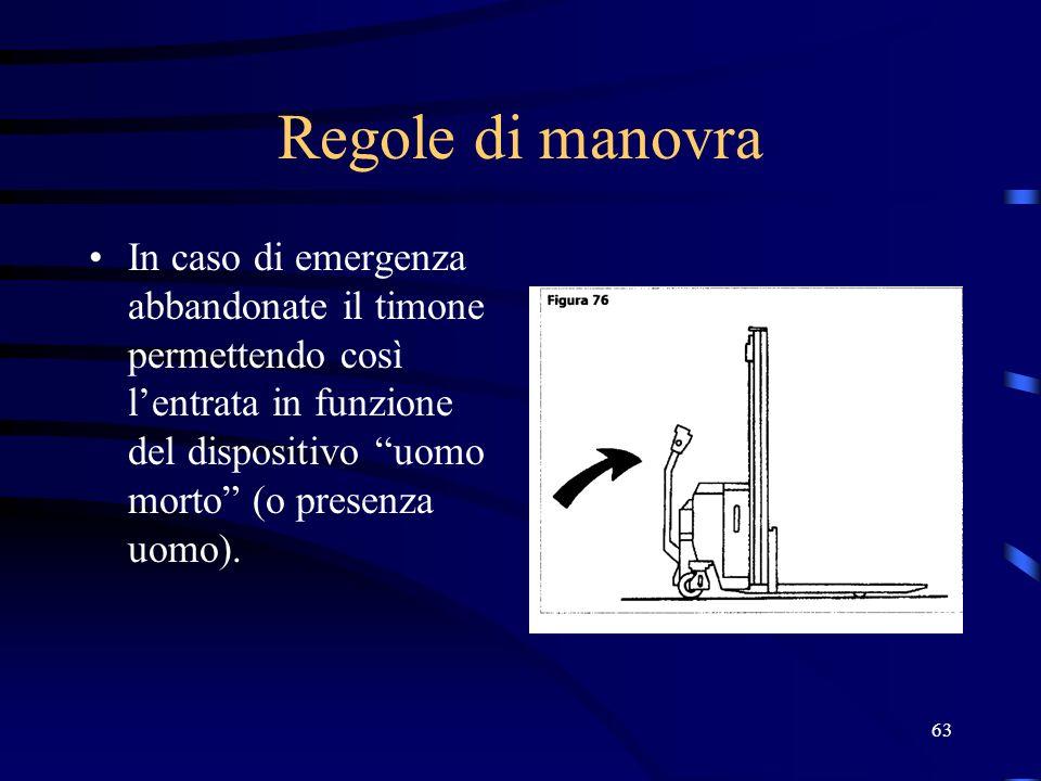 63 Regole di manovra In caso di emergenza abbandonate il timone permettendo così lentrata in funzione del dispositivo uomo morto (o presenza uomo).
