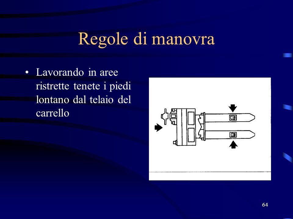 64 Regole di manovra Lavorando in aree ristrette tenete i piedi lontano dal telaio del carrello